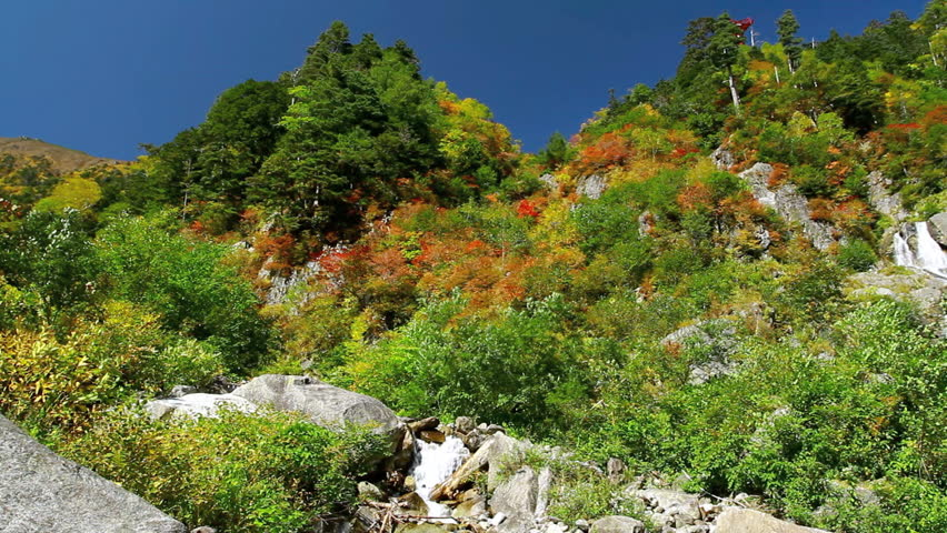Beautiful autumn landscape in the mountains of Central Alps, Japan.