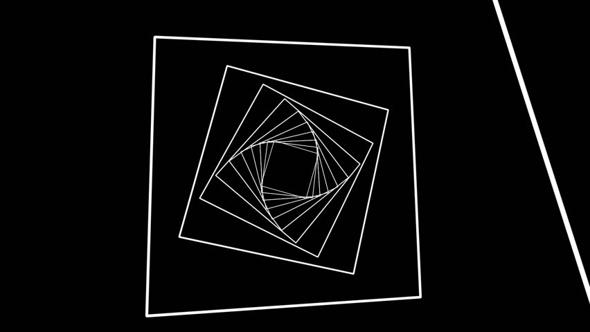 Geometric Spiral White Squares Abstract Motion Black Background