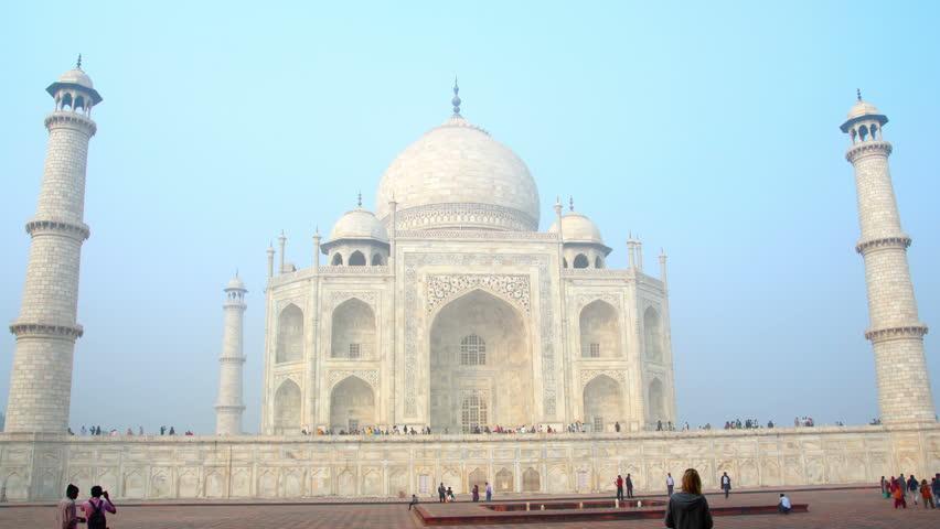 AGRA, INDIA - NOVEMBER 17, 2012: timelapse in motion - Taj Mahal in Agra India,