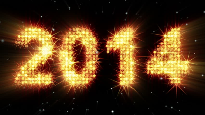 New year 2014 greeting glowing yellow particles. last 10 seconds are loopable    Shutterstock HD Video #4909562