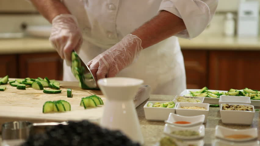 Chef chopping vegetables. Dolly shot #4955663