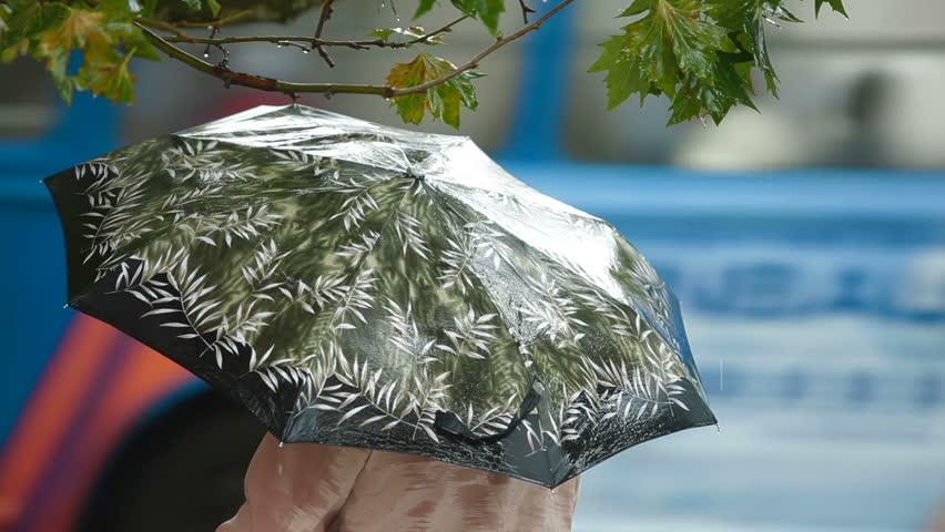 Woman with an umbrella under rain on a city street