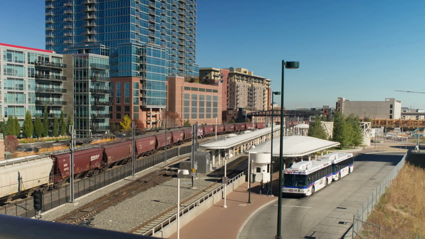 Motion dolly timelapse of RTD mass transit station in downtown Denver, Colorado. HD 1080p motion time lapse.