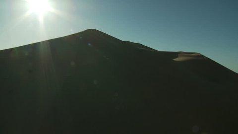 Flight over desert Morocco Sand Dunes