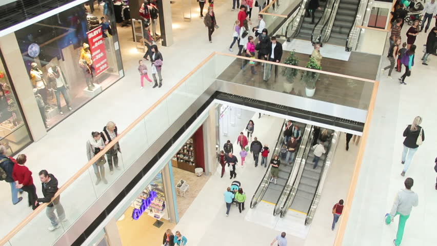 Slightly defocused crowd of walking people in the newly opened shopping mall center | Shutterstock HD Video #4978895