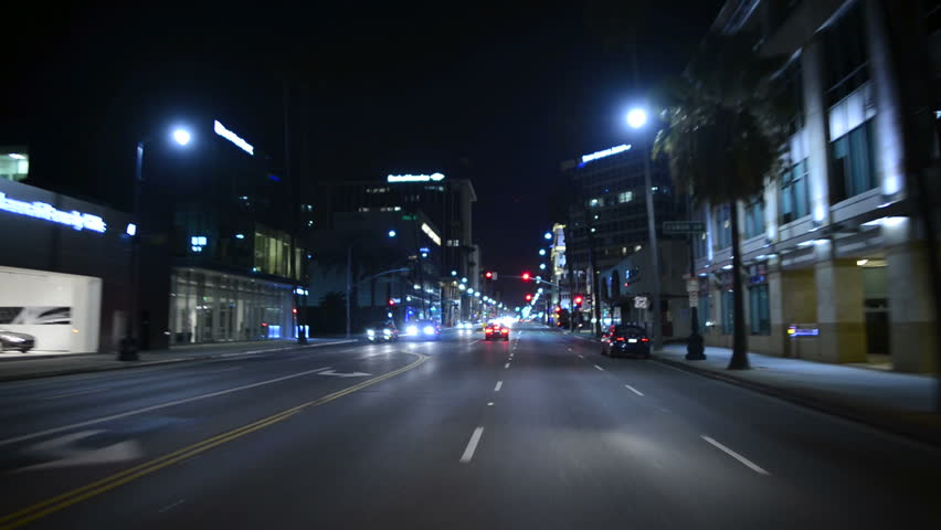 Driving POV Los Angeles 08 Beverly Hills Night USA