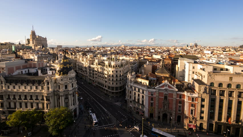 MADRID - 27 OCT: Timelpase view of Madrid city in the afternoon. Madrid is the capital city of Spain and its largest city rich in landmarks and history on 27 October 2013 in Madrid, Spain   Shutterstock HD Video #5000906