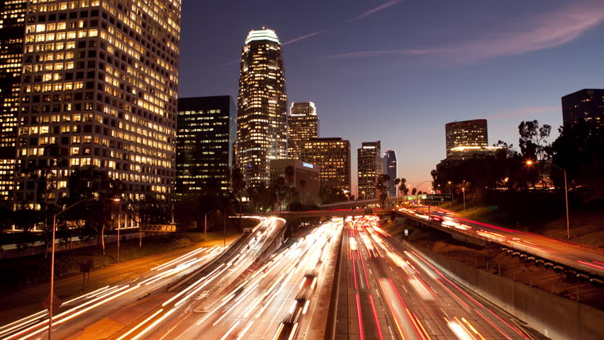 Long Exposure Time Lapse of Night Traffic in Los Angeles California   Shutterstock HD Video #5001578