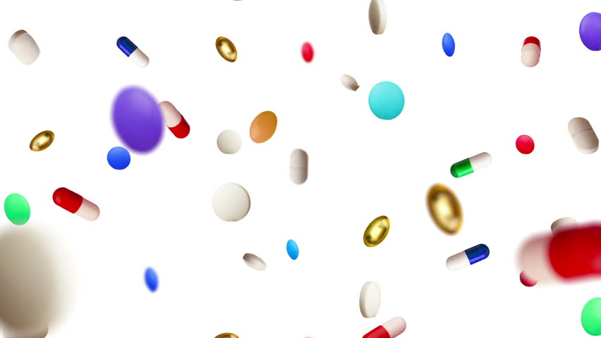 Colored Pills Raining Down Against a White Background