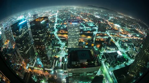 Time Lapse Overview of Los Angeles at Night - 4K