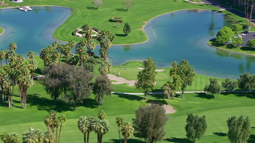 Palm Springs, California, USA - March 22, 2012: Aerial shot of golf course