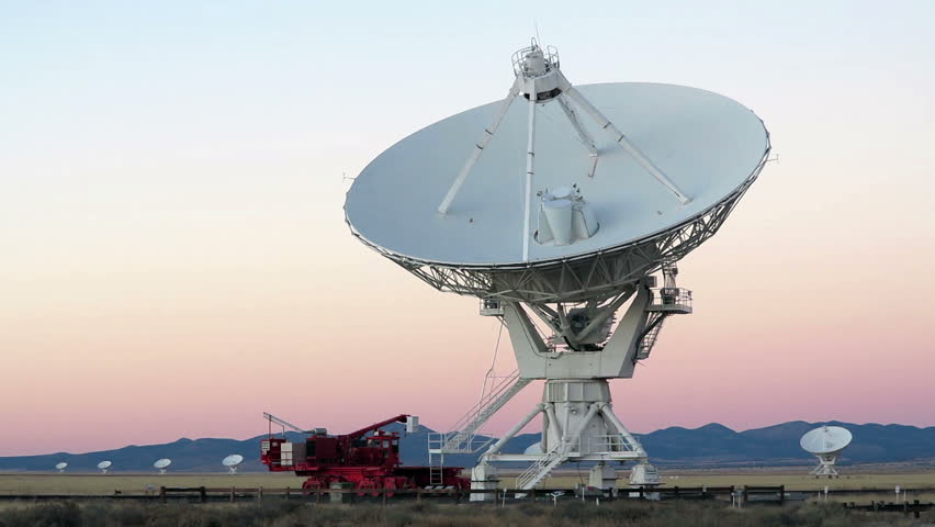 Very Large Array satellite dishes at Twilight in New Mexico, USA