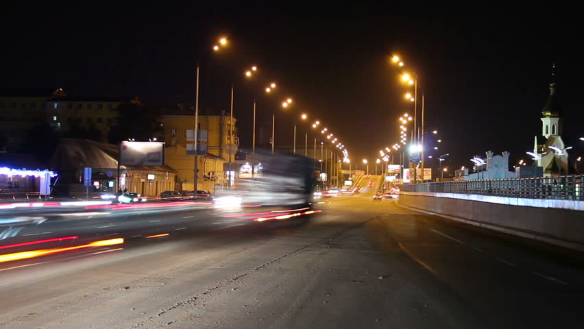City highway time lapse, longs traces from cars lights, night