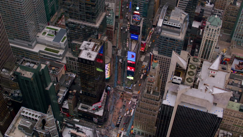 New York City, NY - October 26, 2012:  Aerial view of Times Square in New York City