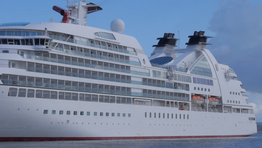 The Modern Cruise Ship On The Port It Has Modern Windows And - Port side of a cruise ship