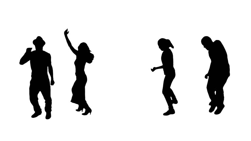 2 couples dancing silhouettes. Alpha matte. More options in my portfolio.