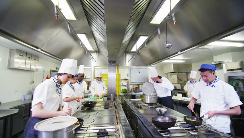 Restaurant Kitchen Chefs chef in restaurant kitchen sequence stock footage video 3667679