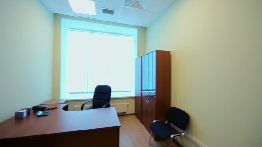 Panorama Of Small Empty Cabinet With Office Furniture Stock Footage ...