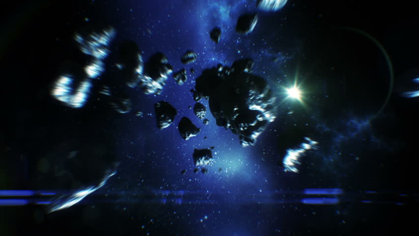 Beautiful Flight Through Asteroid Belt in Open Space. Asteroids Collisions 3d animation. HD 1080.