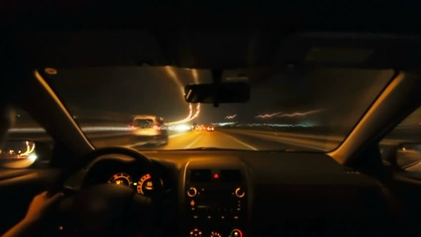 Timelapse of driving at night with camera in car