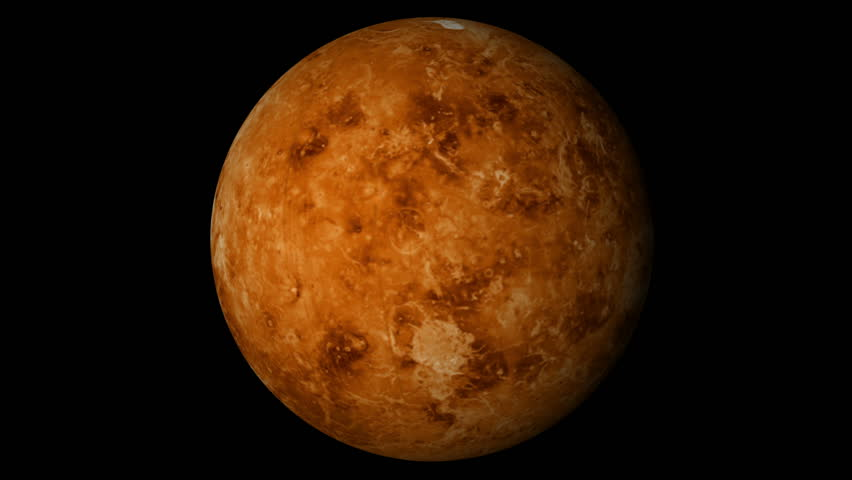 Animated one revolution of planet Venus with correct rotation direction (opposite of other planets) and proper axial tilt; on black background. Elements of this footage furnished by NASA.