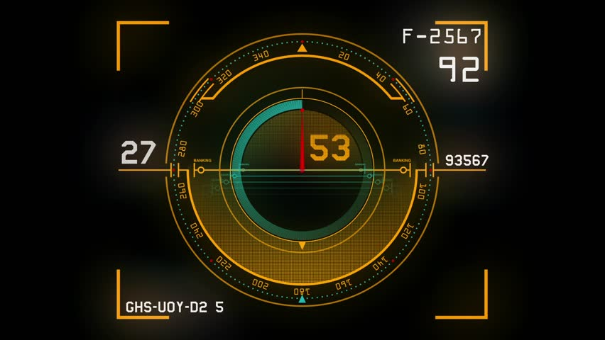 Futuristic high tech control panel displaying a speedometer and tachometer like screen on a black background. HD clip can be used as a dashboard background.