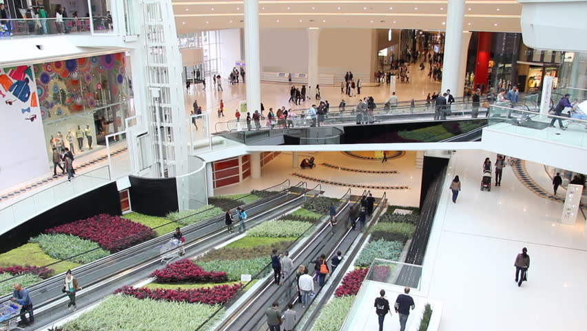 Shopping mall interior time lapse