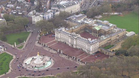 BUCKINGHAM PALACE NOVEMBER 2012 - Aerial view of royal residence Buckingham Palace in London. The famous Victoria memorial can be seen at front of the building. LONDON, UK 22 NOVEMBER 2012 EDITORIAL
