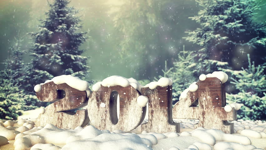 2014 new year in the snow. Full HD 3d animation for winter concepts.