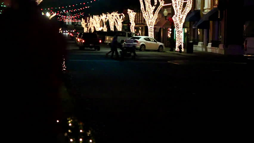 A small town in rural America all lit up for the Christmas season