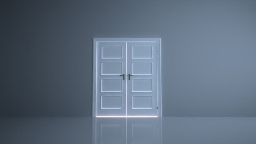 Empty, abstract room with doors opening to a bright light.
