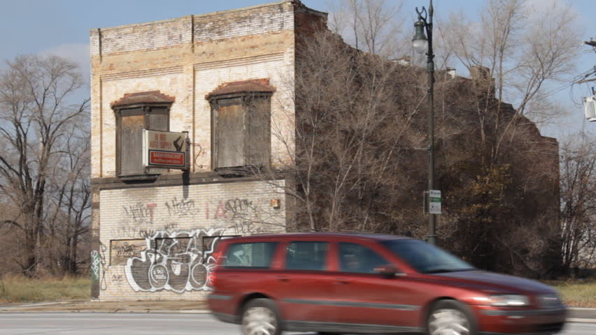 DETROIT - CIRCA NOVEMBER 2013: An abandoned building in the Corktown