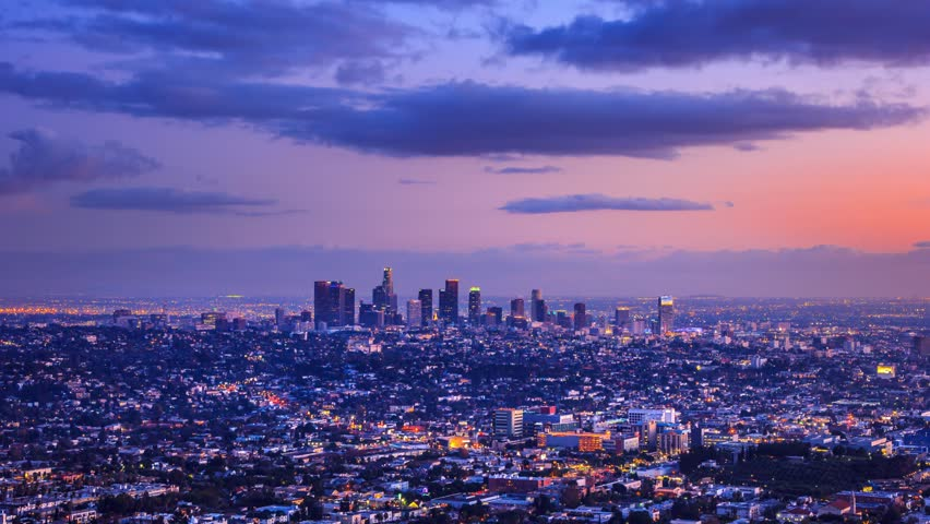 Los Angeles city changing from day to night. Timelapse.