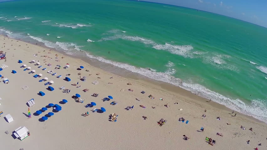 Aerial footage of South Beach Miami