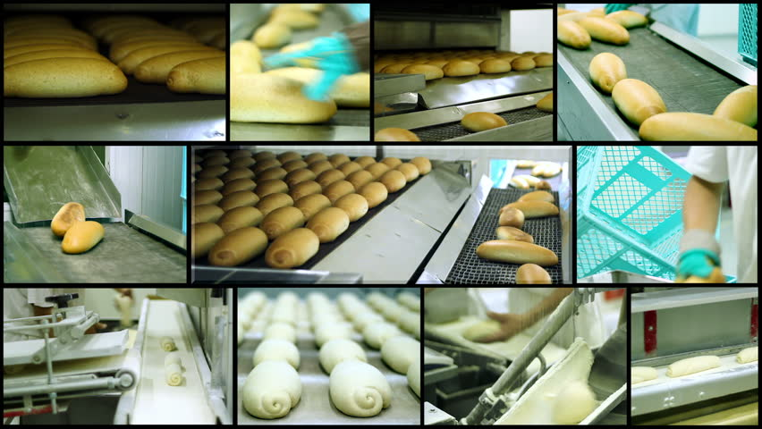 Bread Making - Montage. Food Production.