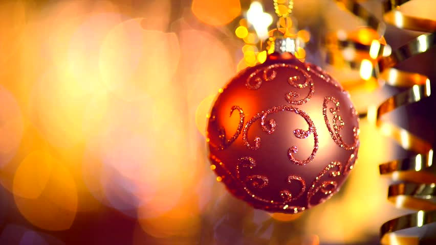 Christmas And New Year Decoration Hanging Bauble Close Up Abstract Blurred Bokeh Holiday Background