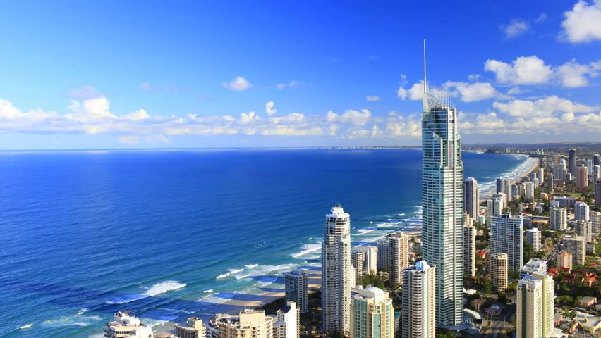Looking south over Surfers Paradise on a beautiful Gold Coast day. Time lapse establishing shot Australia.