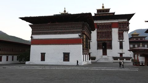 THIMPHU, BHUTAN - DEC 3: Interior Building in the Tashichhoedzong (Thimphu Dzong) on Dec 3, 2013 in Thimphu, Bhutan. Buddhist monastery and fortress on the northern edge of Thimpu city in Bhutan.