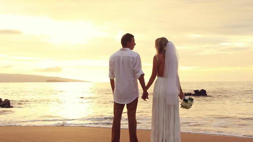 Newly Married On Tropical Beach After Sunset Wedding Bride And Groom Hd