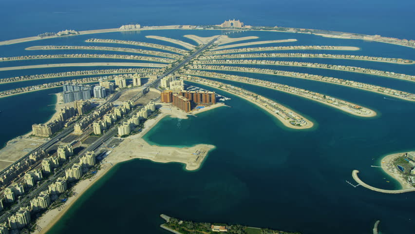 Aerial view of Luxury Shopping Centre, Golden Mile, Palm Jumeirah, Dubai, UAE, RED EPIC, 4K, UHD, Ultra HD resolution