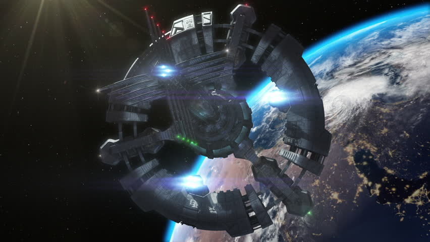 Highly detailed huge spaceship approaching to the Earth. | Shutterstock HD Video #5308499