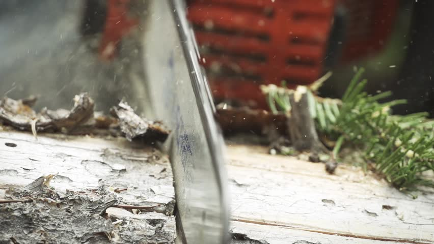 Chainsaw cutting log in super slow motion | Shutterstock HD Video #5325158