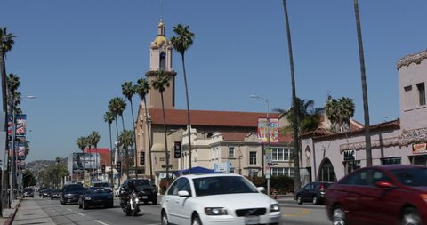 LOS ANGELES, USA - APRIL 15, 2013 Blessed Sacrament Church, Hollywood Sunset Strip Boulevard, Cars Commute to LA Downtown ( Ultra High Definition, Ultra HD, UHD, 4K, 2160P, 4096x2160 )