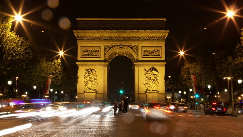 Paris, France - CIRCA 2013: Arch of Triumph rain at night Traffic time lapse 4K UHD motion blur | Shutterstock HD Video #5365127