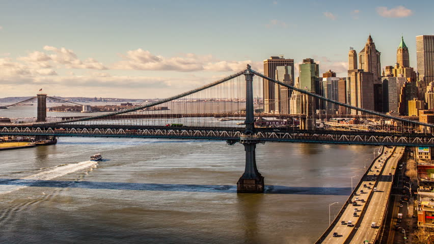 Manhattan Bridge and Brooklyn Bridge in New York City from Day to Night (seamless loop) - Beautiful NYC Timelapse
