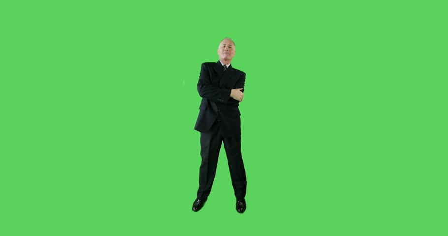 Confident Senior caucasian business man green screen