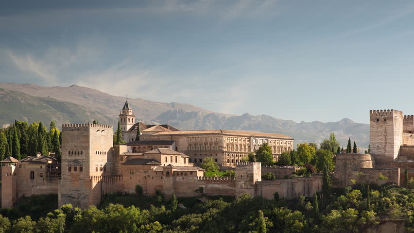 4kTime lapse of the alhambra palace in granada with the sierra nevada mountains in the distance