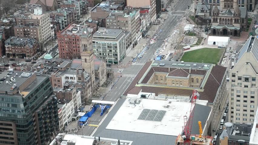 BOSTON-APR 18: Boylston Street in Boston, USA on April 18,2013. More 23300 runners take part in Marathon. 3 people killed, over 100s injured on Boylston Street on April 15,2013.