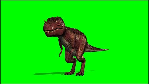 T Rex Dinosaurier  roars - seperated on green screen