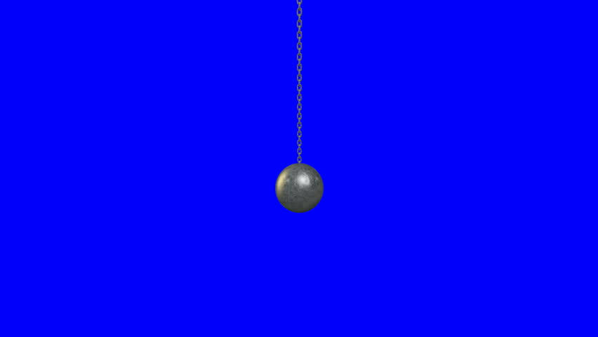 A regular metal wrecking ball attached to a chain swinging to and fro on a blue screen background